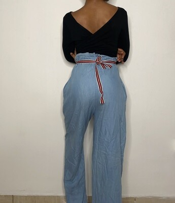 Semi Denim Wide Legged Pants with Elastic Waist