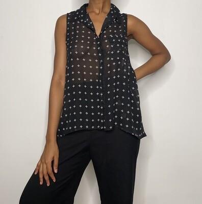 Black Sleeveless Chiffon Shirt