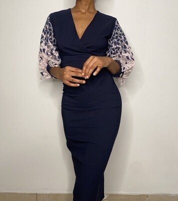 Navy Blue Pencil Dress with Pink Mesh Detail