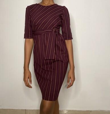 Burgundy Striped Dress with Waist Cinch Detail