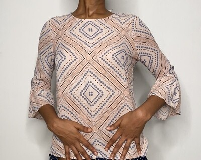 Patterned Blouse with Trumpet Sleeves