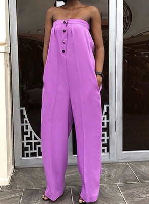 Armless Button Down Jumpsuit