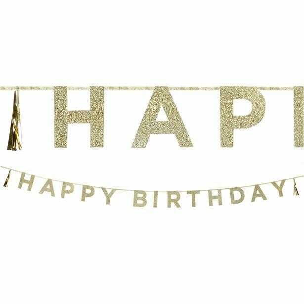 """Slinger """"Happy Birthday"""" - goud, glitter"""