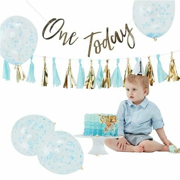 """Pastelblauwe 1ste verjaardag """"Cake Smash"""" pakket"""
