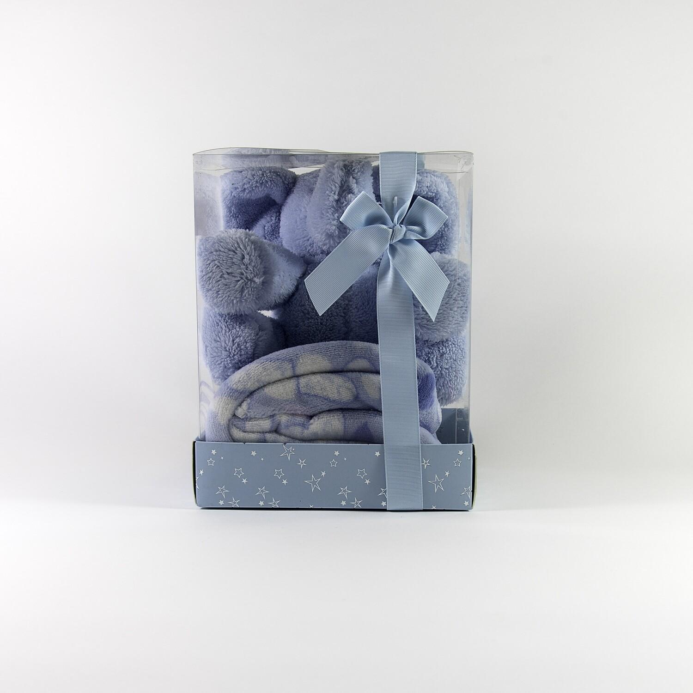Geboorteolifant + deken (blauw)