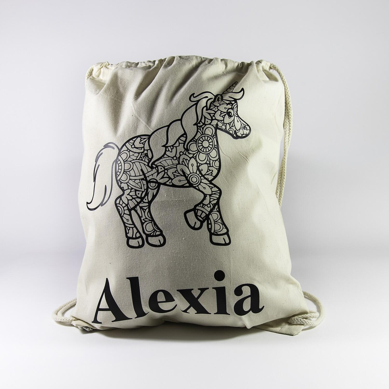 Turnzakje met textielstiften - Unicorn