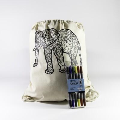 Turnzakje met textielstiften - Olifant