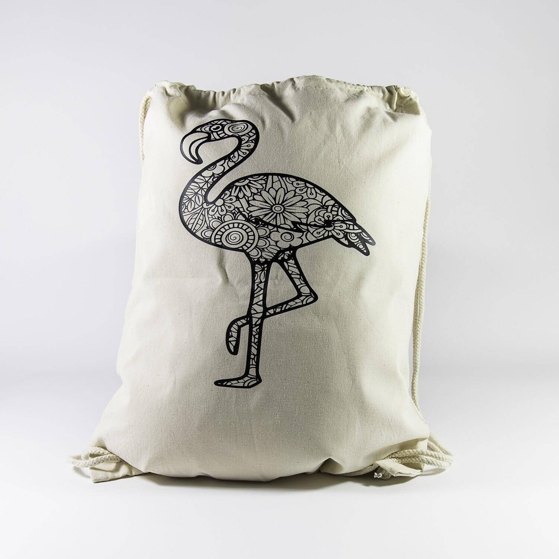 Turnzakje met textielstiften - Flamingo