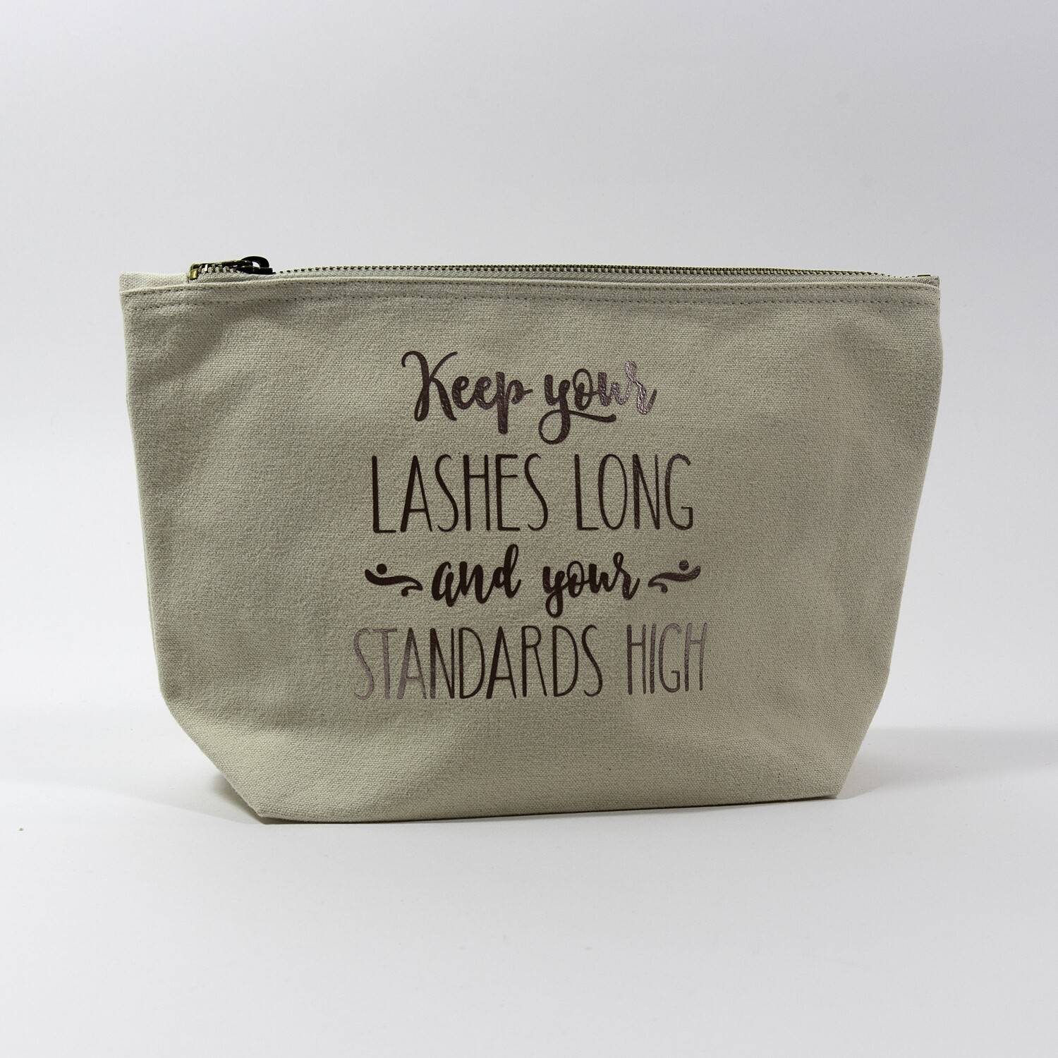 "Toilettas met opdruk ""Keep your lashes long, ..."""