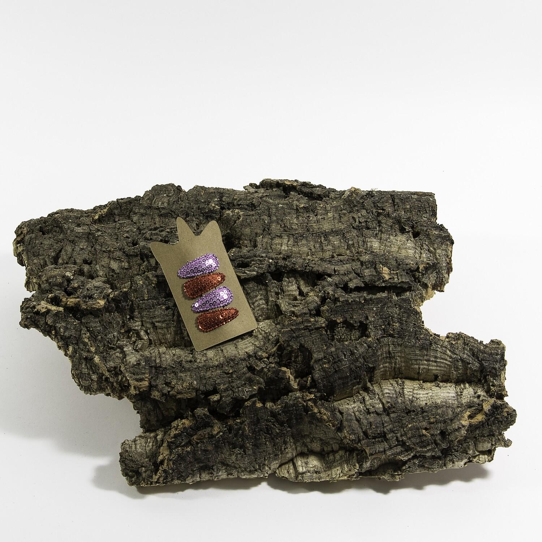 Klikklakspeld 35 mm pailletten paars-roos (4 stuks per set)