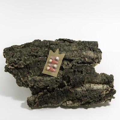 Klikklakspeld 35 mm lichtroos-koraalroos met wit bloemetje (4 stuks per set)