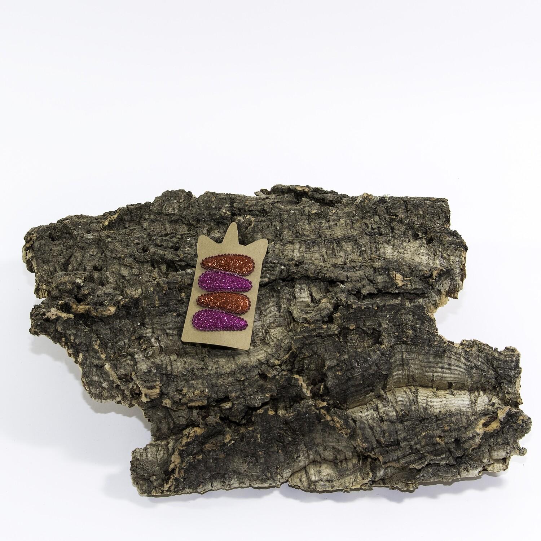 Klikklakspeld 45 mm glitter roos-paars (4 stuks per set)