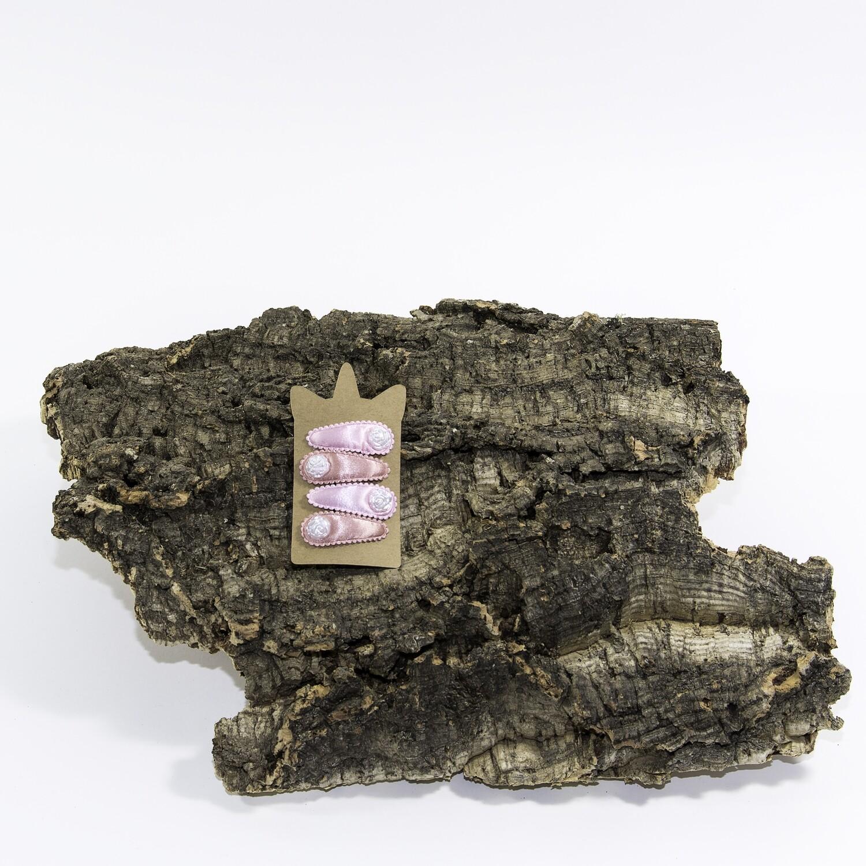 Klikklakspeld 45 mm lichtroos-koraalroos met roosje (4 stuks per set)