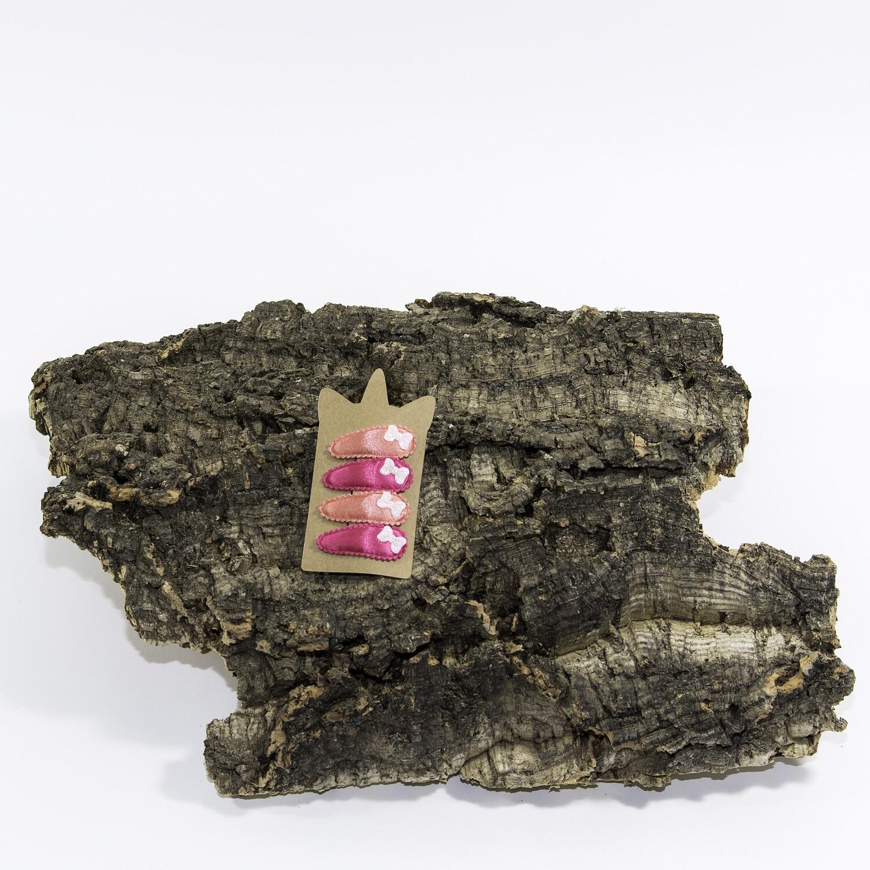Klikklakspeld 45 mm koraalroos-fuchsia met strik (4 stuks per set)