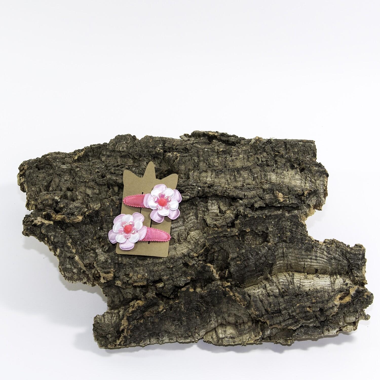 Bloemhaarspeld 55 mm koraalroos-wit-roos (2 stuks per set)