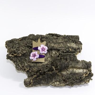 Bloemhaarspeld 55 mm paars-roos met ster (2 stuks per set)