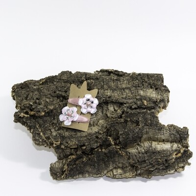 Bloemhaarspeld 55 mm roos-wit-zilver met hartje (2 stuks per set)