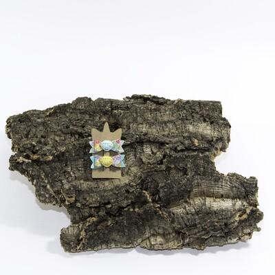 Haarstrikje 55 mm mint-glitter met schelp (2 stuks per set)