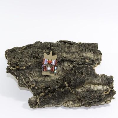 Haarstrikje 55 mm grijs-rood met hartje en kroon (2 stuks per set)