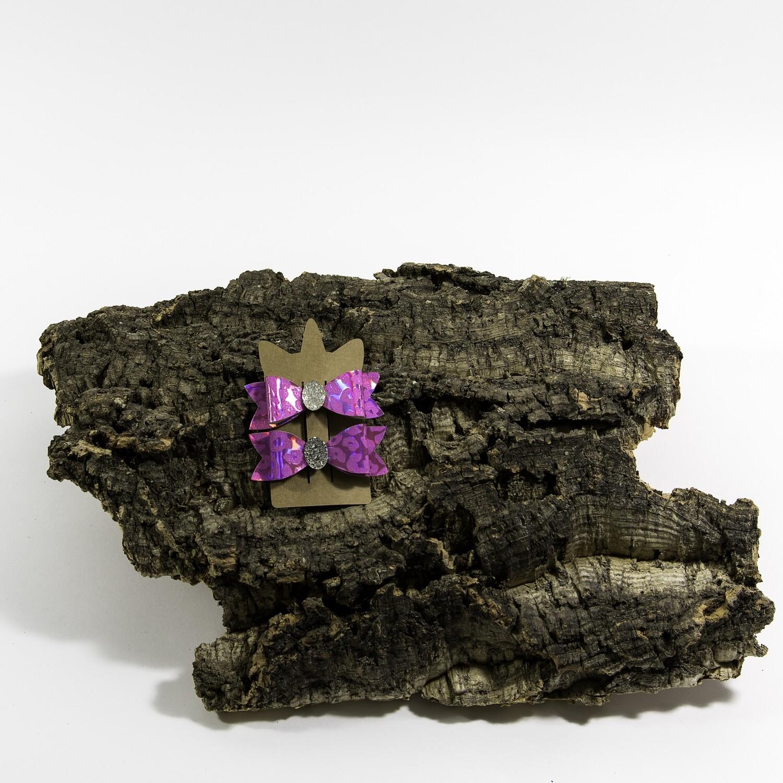 Haarstrikje 75 mm roospanter met ovaal steentje (2 stuks per set)