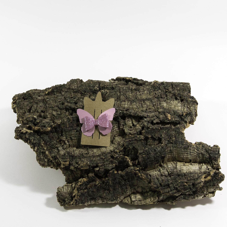 Haarstrikje 75 mm roos-roosglitter vlinder (1 stuk)