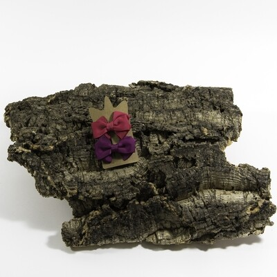 Haarspeldje met linten strik - Fuchsia-paars (2 stuks per set)