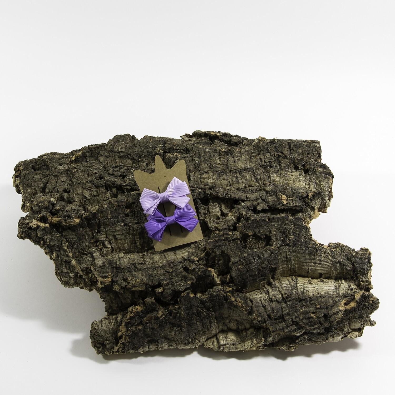 Haarspeldje met linten strik - Lavendel (2 stuks per set)
