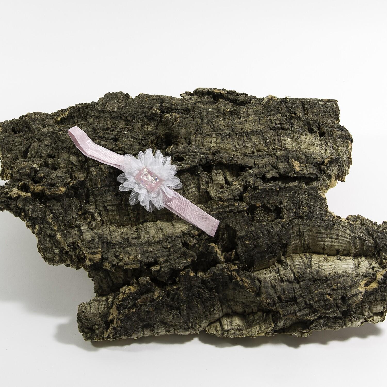 Haarbandje witte bloem met applicatie (sweet)