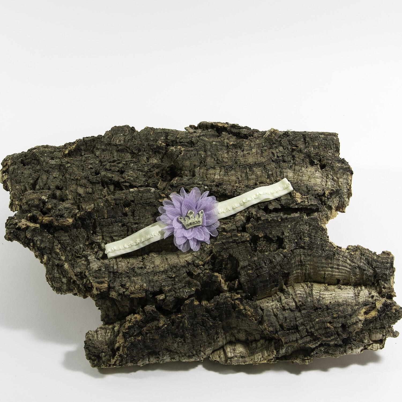Haarbandje paarse bloem met kroon