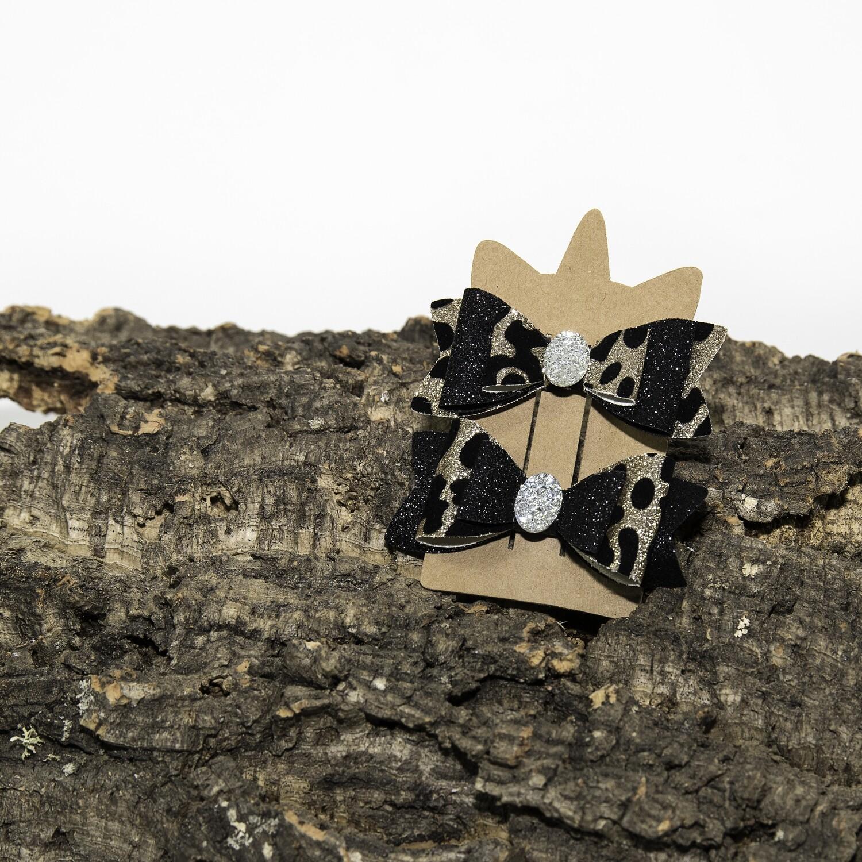 Haarstrikje 85 mm panter-zwart met ovaal steentje (2 stuks per set)