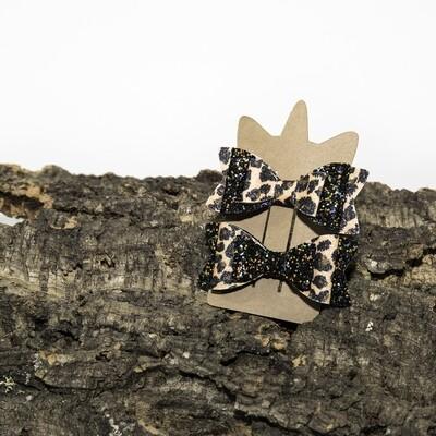 Haarstrikje 85 mm oranje panter-zwart glitter (2 stuks per set)