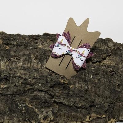 Haarstrikje 85 mm roosglitter-unicorn (1 stuk)