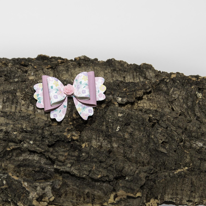 Haarstrikje 85 mm roos-bloem met roze bloem (1 stuk)