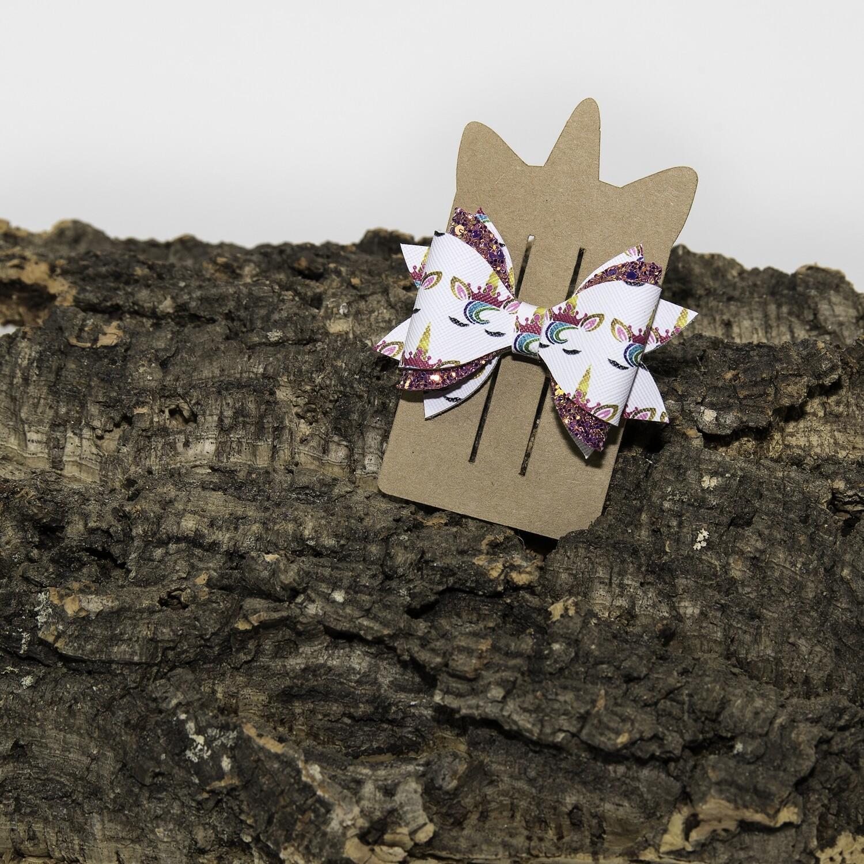 Haarstrikje 85 mm unicorn-roosglitter (1 stuk)