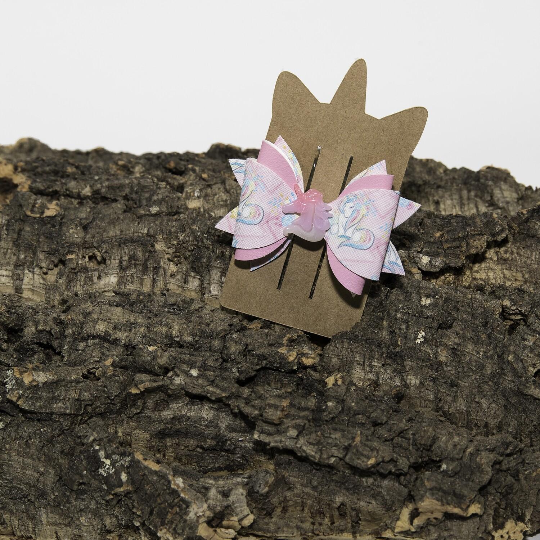 Haarstrikje 85 mm unicorn-roos met applicatie (1 stuk)