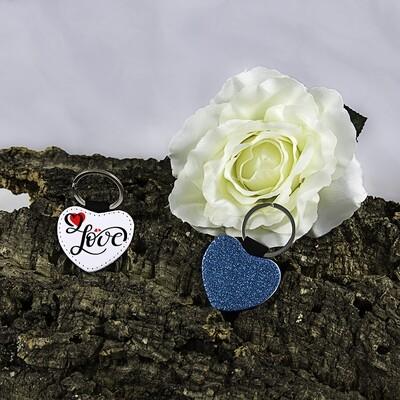 Sleutelhanger hart glitter blauw