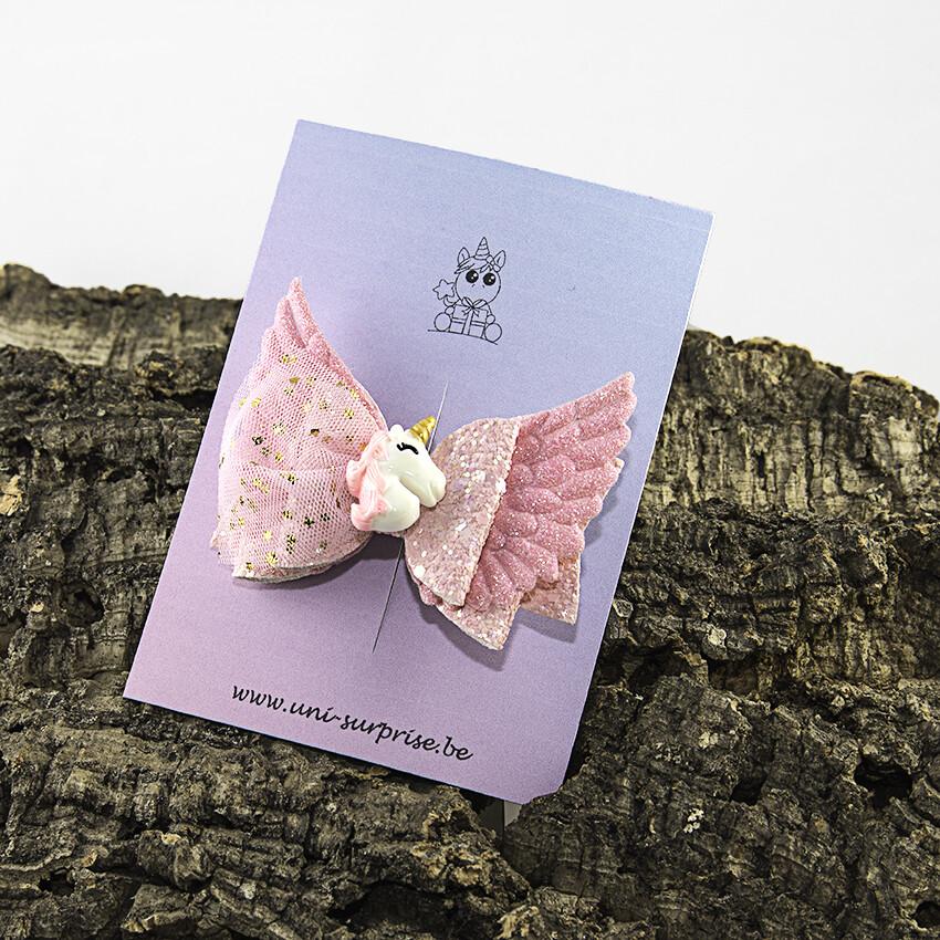 Roze strik met kant en vleugels met applicatie (1 stuk)