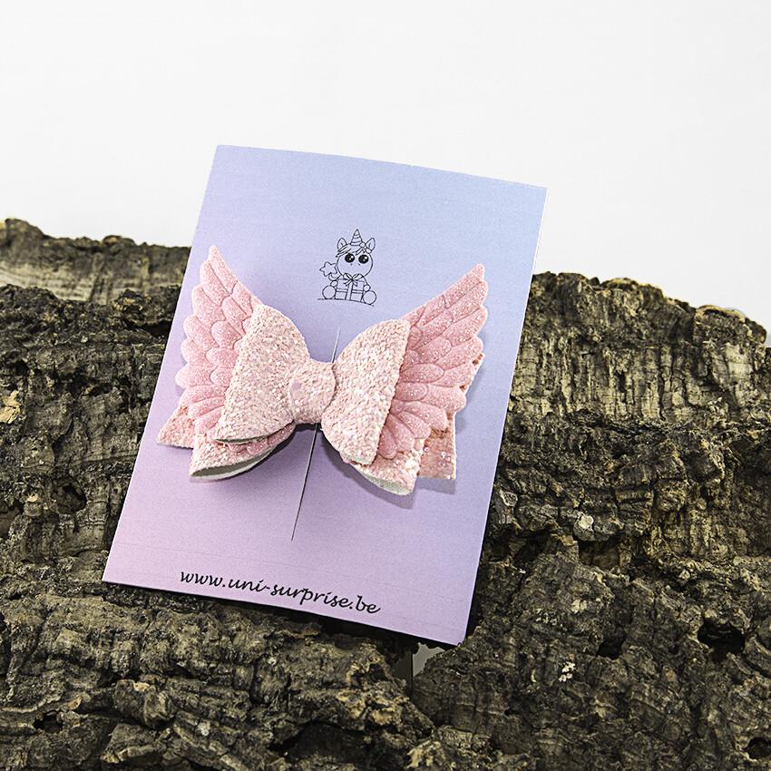 Roze glitterstrik met vleugels (1 stuk)