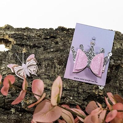 Roze glitterstrik met zilveren kroontje (1 stuk)