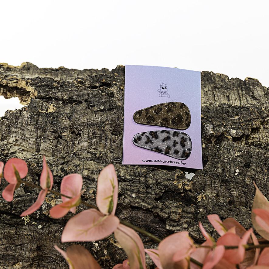 Klikklakspeldje met luipaardprint (Mix grijs-donkerbeige)