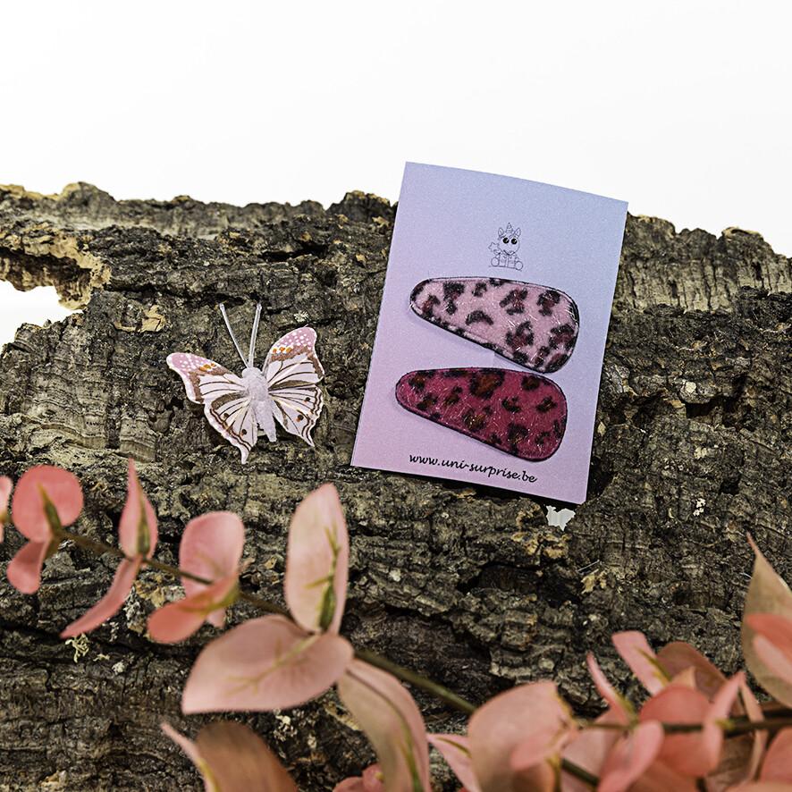 Klikklakspeldje met luipaardprint (Mix roze)