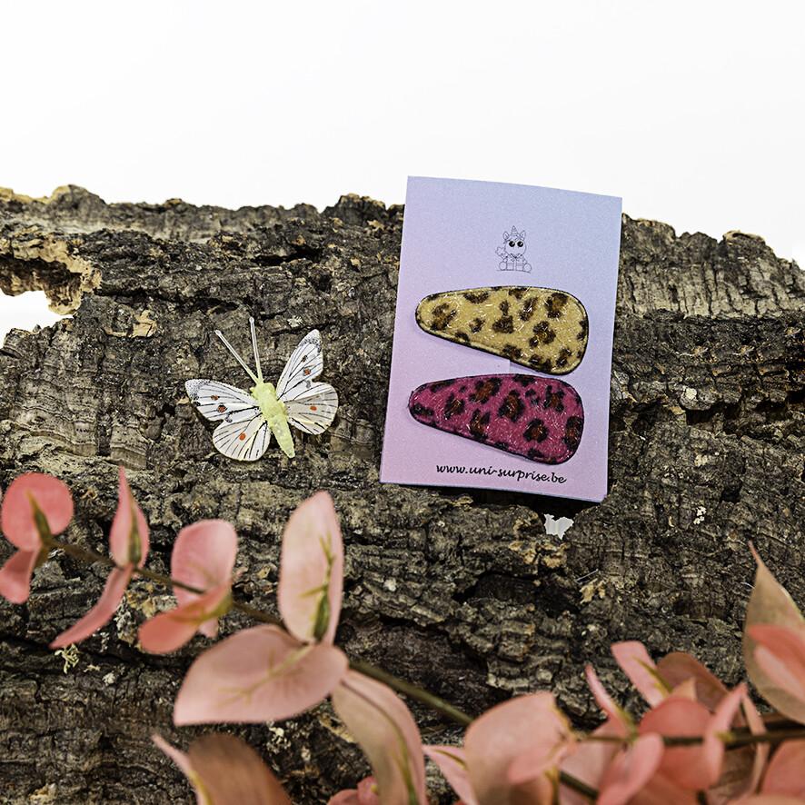 Klikklakspeldje met luipaardprint (Mix lichtbeige-donkerroos)