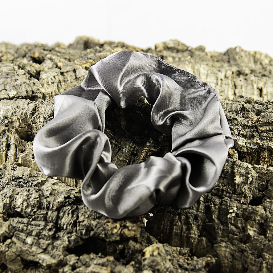 Scrunchie satijn - donker grijs