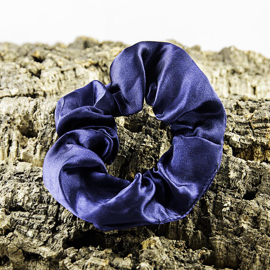 Scrunchie satijn - donker blauw