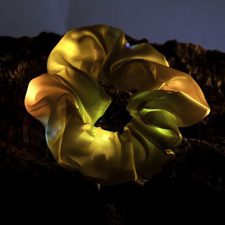 Lichtgevende scrunchie - geel