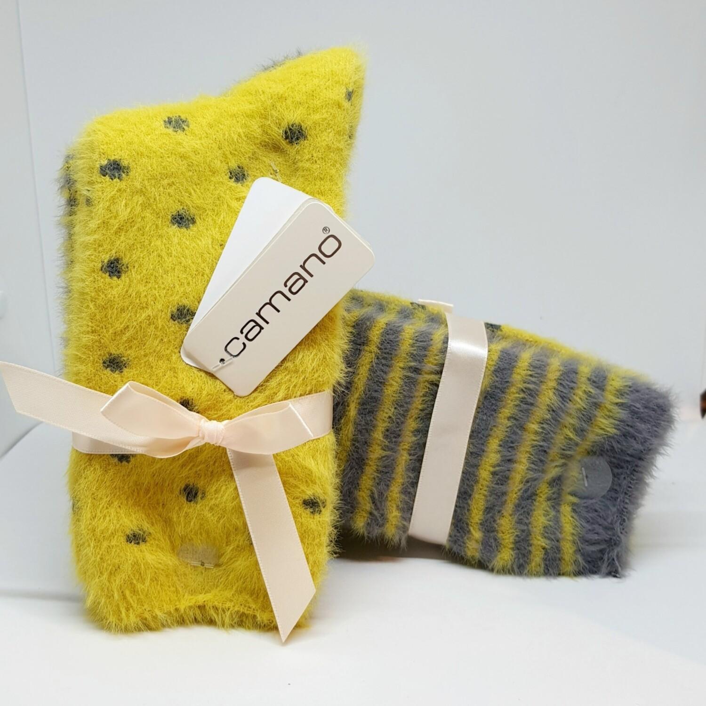 Fluffy socks Golden Moss (2 paar!)