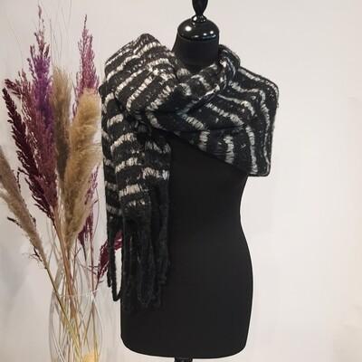 Sjaal zwart-wit gestreept