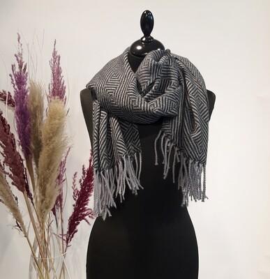 Sjaal grijs franjes