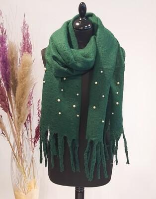 Sjaal groen parels