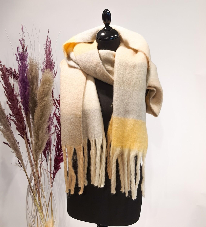 Sjaal oker-grijs-wit